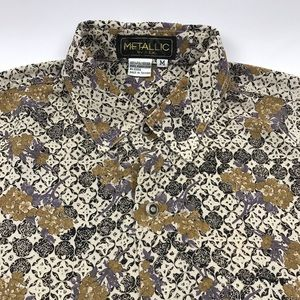 Vintage Abstract Floral Polyester Button Shirt M/L